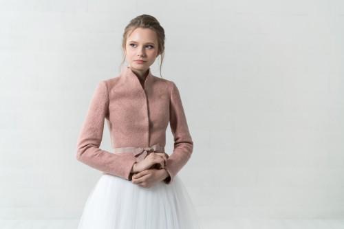 Pelenų rožinės spalvos veltinio švarkelis