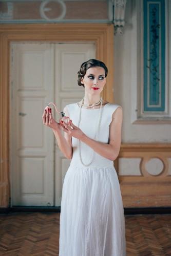 Šilkinė vestuvinė suknelė